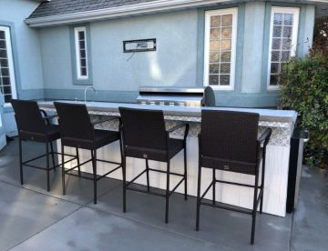 outdoor bar with stools
